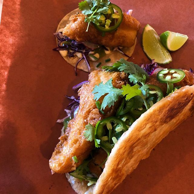 Swordfish Baja fish taco with all the usual suspects