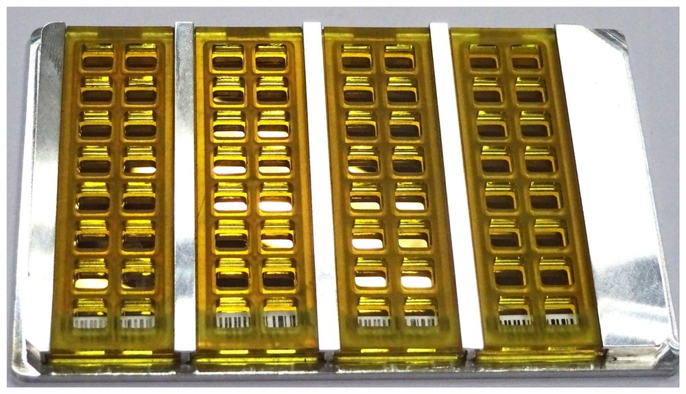 ELISA-like assay plate consisting of 4 pGOLD slides