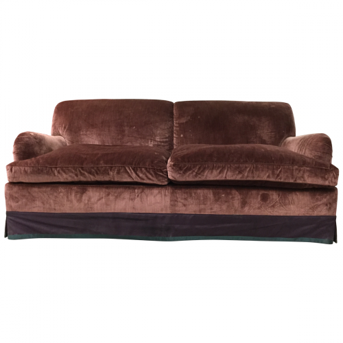 Custom Velvet Roll Arm Sofa