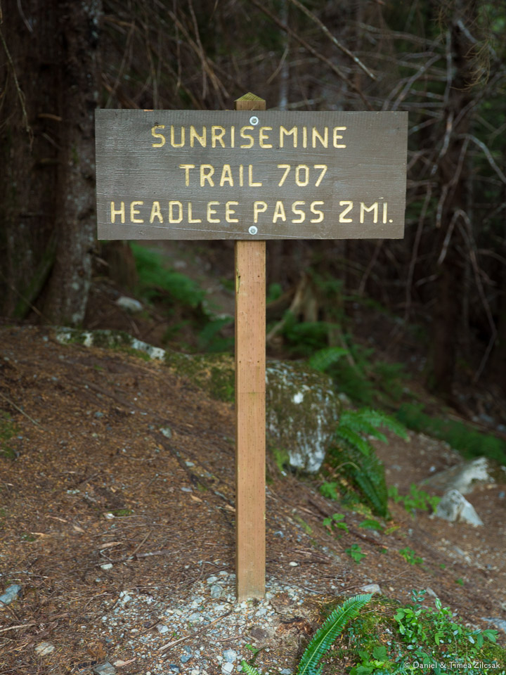 Sunrise Mine Trail Head - entry point towards Headlee Pass and Vesper Peak