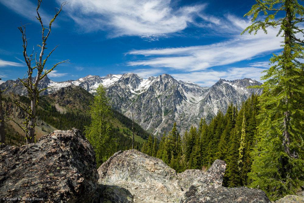 View of the Enchantments peaks in the Stuart Range from Navaho Pass, Little Annapurna is straight in the middle