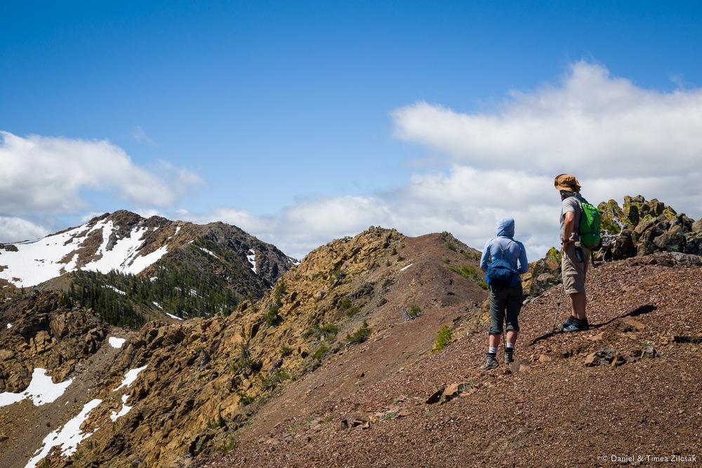 On the ridge looking south west towards Earl Peak