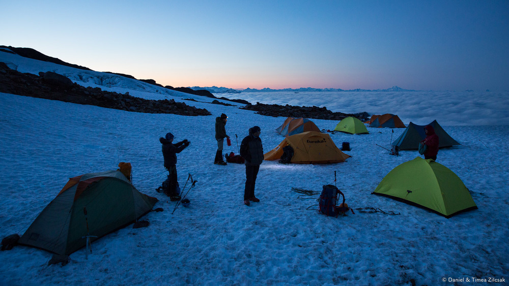 Early morning start from camp for our summit day, Mount Baker Climb