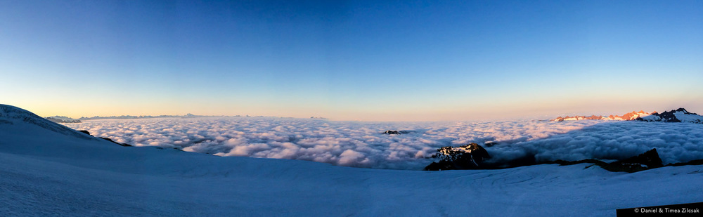 Panorama view from lower Easton Glacier, Mount Baker - Park Bute at the bottom right