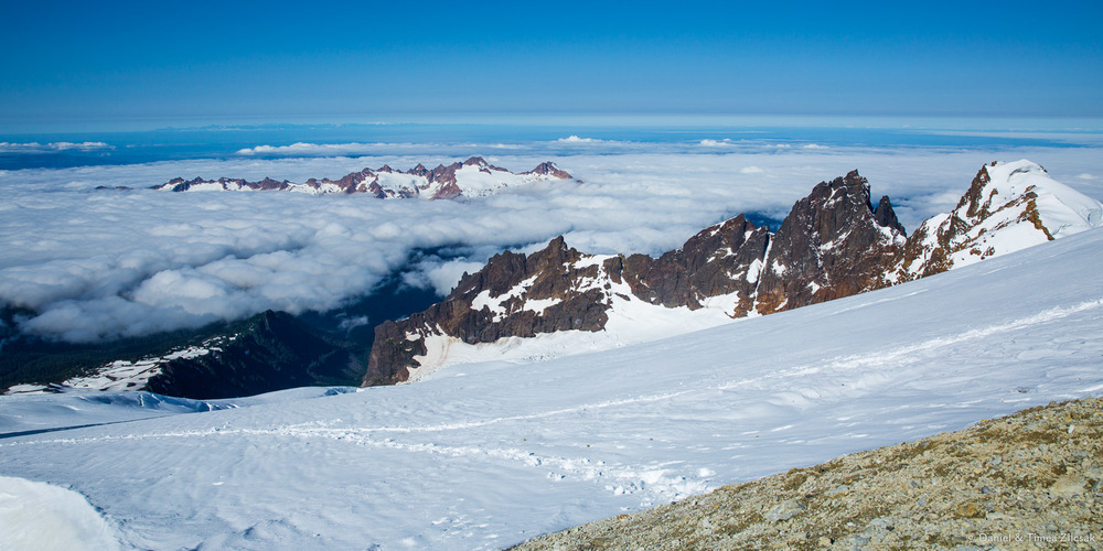 Looking back to where we came from - view from Mt Baker's crater rim