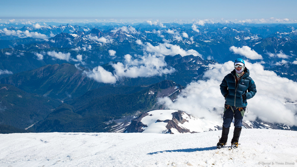 Mount Baker Climb: This is me on the summit, with a sea of other rugged peaks bellow and to the north