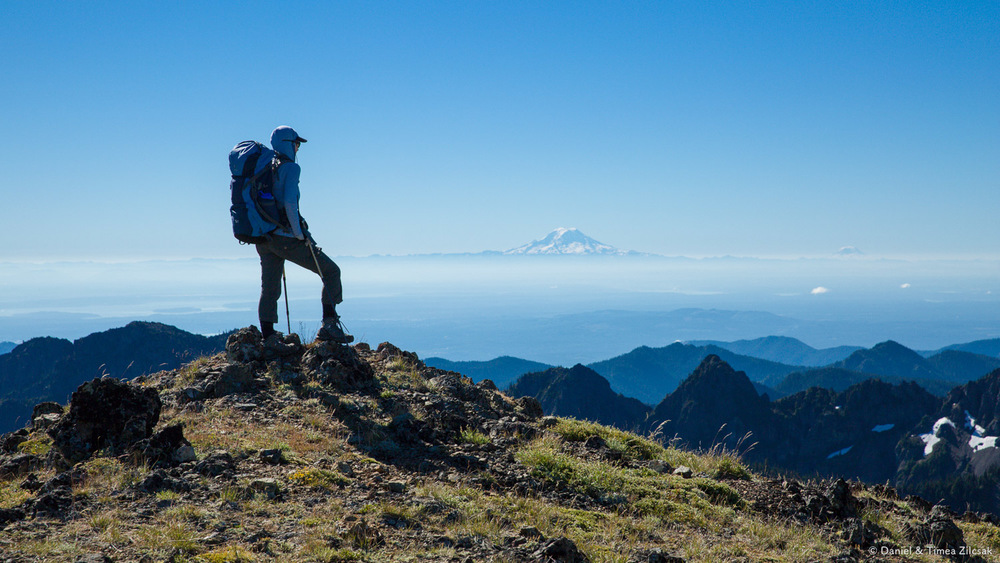 View of Mt Rainier and Adams from Buckhorn Mountain Ridge