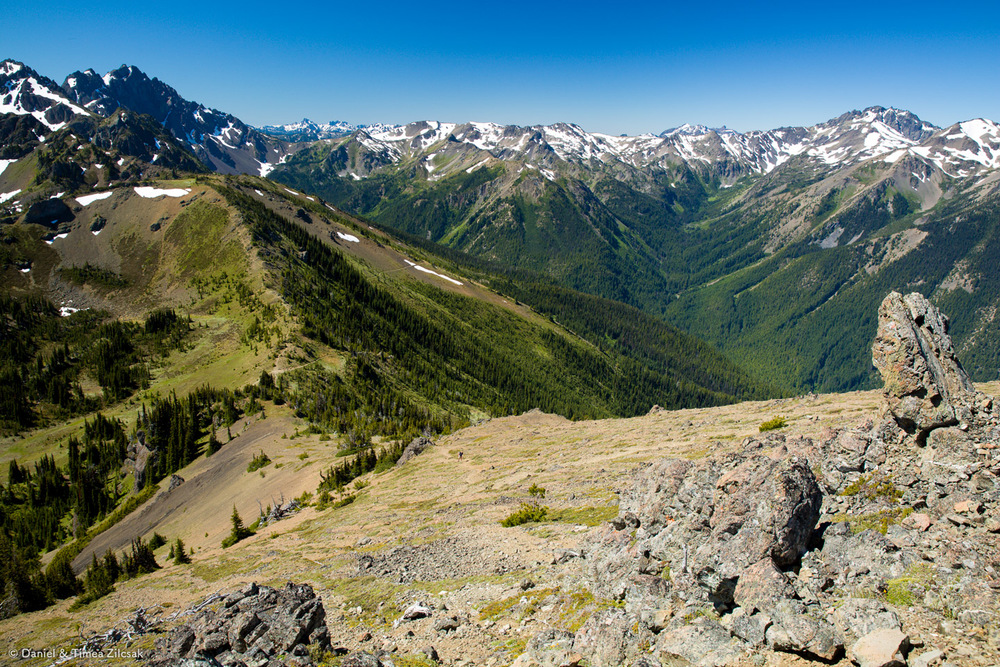 Marmot Pass and Heather Valley viewed from Buckhorn Mountain