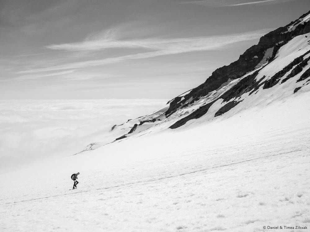 Climber on the Muir Snow Field, Mount Rainier National Park