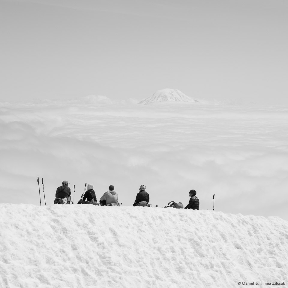 Lunch above the clouds, Camp Muir, Mount Rainier National Park