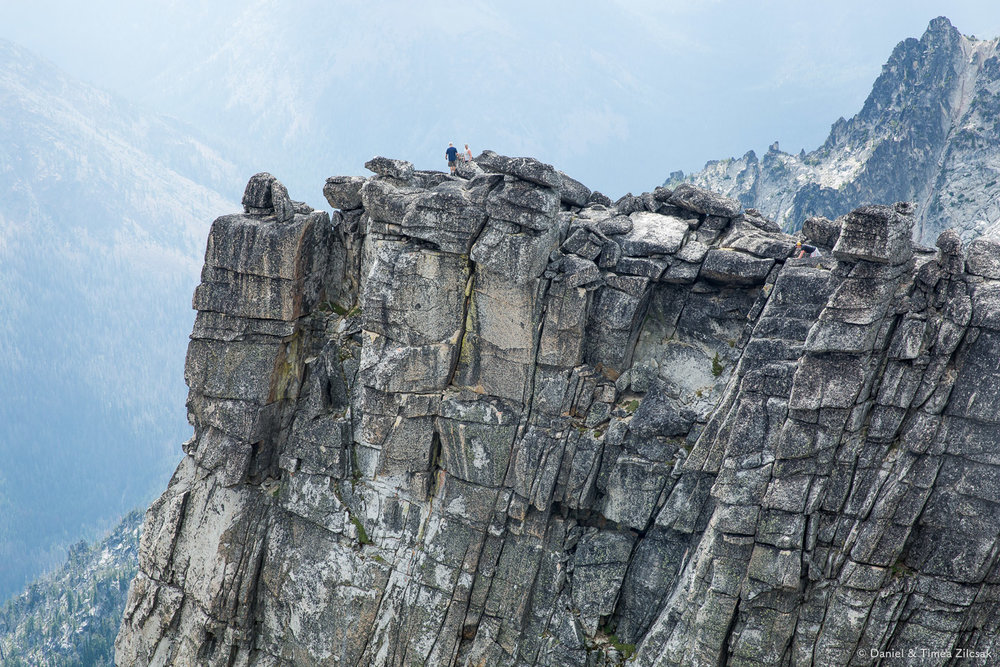 Narrow ledge near the summit of 8400ft Little Annapurna, The Enchantments