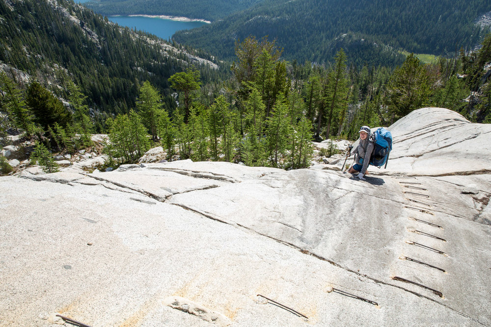 Descend towards Snow Lakes, right around the corner from Lake Viviane, The Enchantments