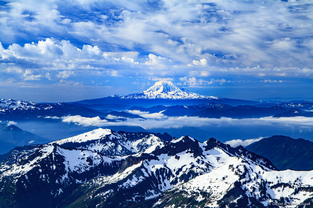 Mt. Adams 12,281 ft. and the Tatoosh range seen from 9000 ft. en route to Camp Muir, Mount Rainier National Park