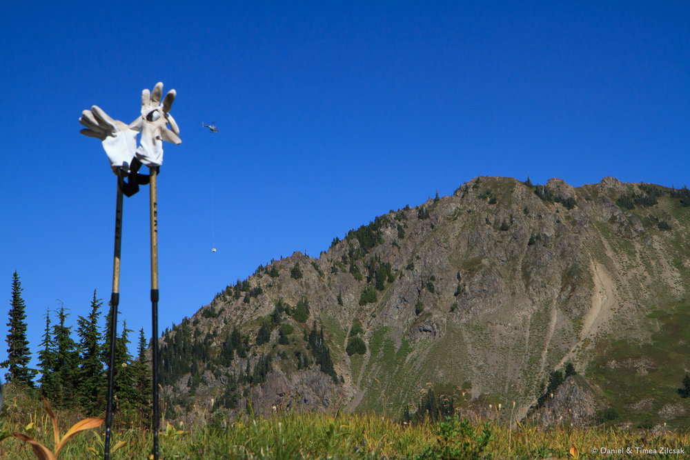 Park Service helicopter picking up toilets on the High Divide - Seven Lakes Basin Loop, Olympic National Park