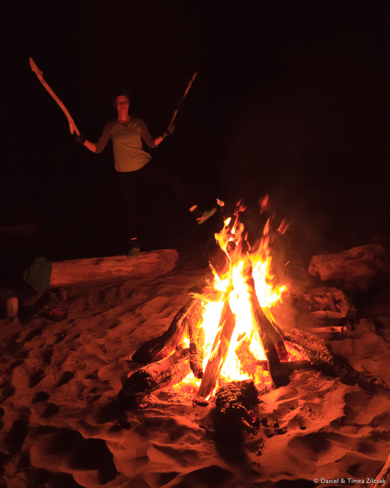 Late night around the camp fire at Toleak Point