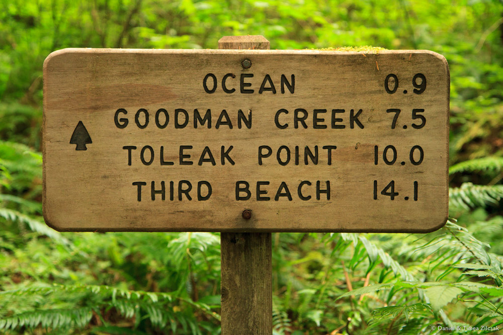 South Coast Wilderness Trail sign - Oil City to Toleak Point to Third Beach (in reverse)