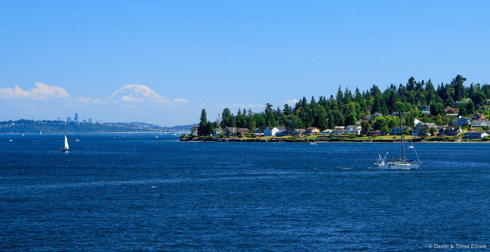 View of Mount Rainier and Seattle from the Walla Walla ferry, across Puget Sound from Kingston to Edmonds