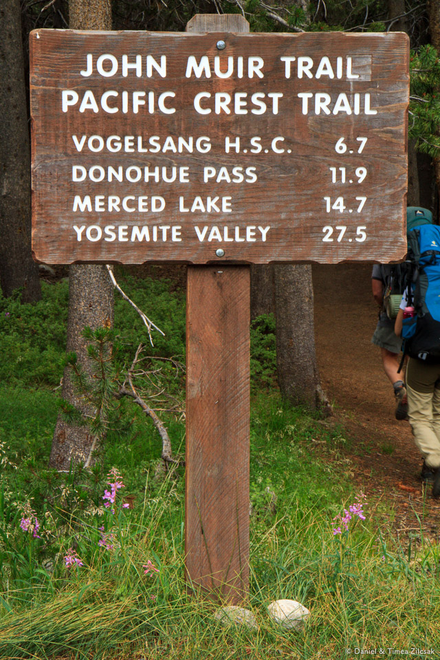 John Muir Trail sign near Tuolumne Meadows Lodge- Backpacking Yosemite