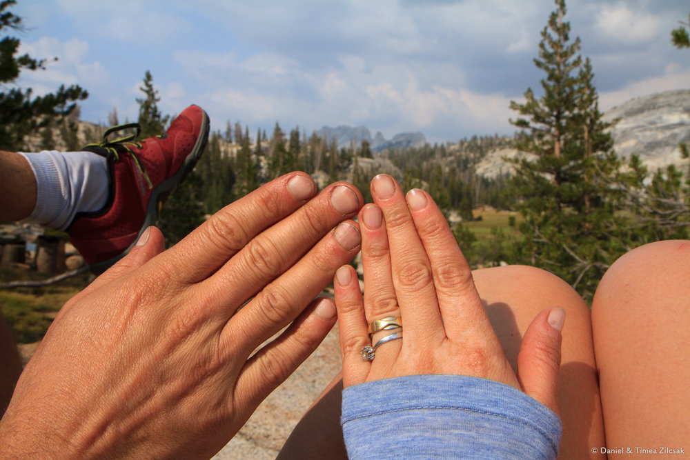 Dirty hands at Sunrise, Backpacking Yosemite National Park