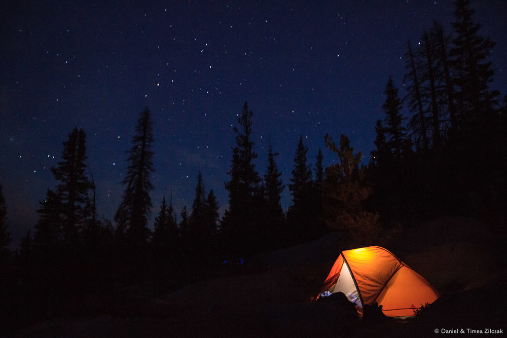 Our camp at Sunrise with the constellation Scorpius visible in the Yosemite night sky