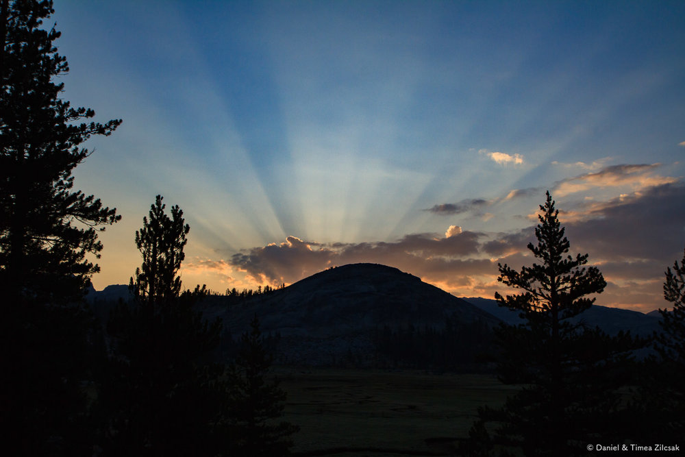 Sunrise from Sunrise camp, backpacking Yosemite National Park