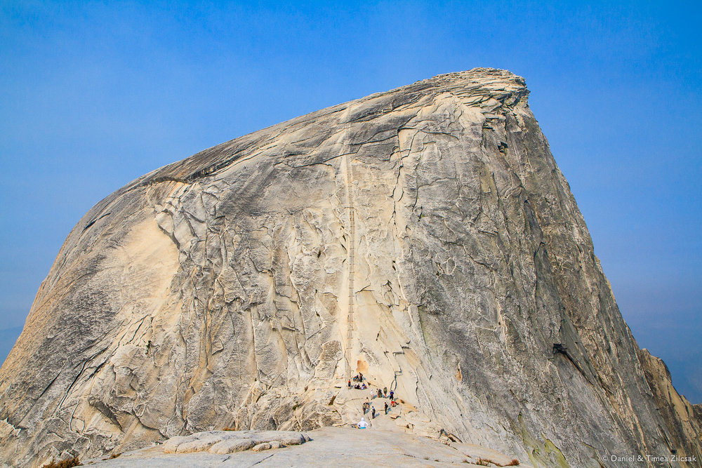 The famous steep Half Dome cables - Backpacking Yosemite National Park
