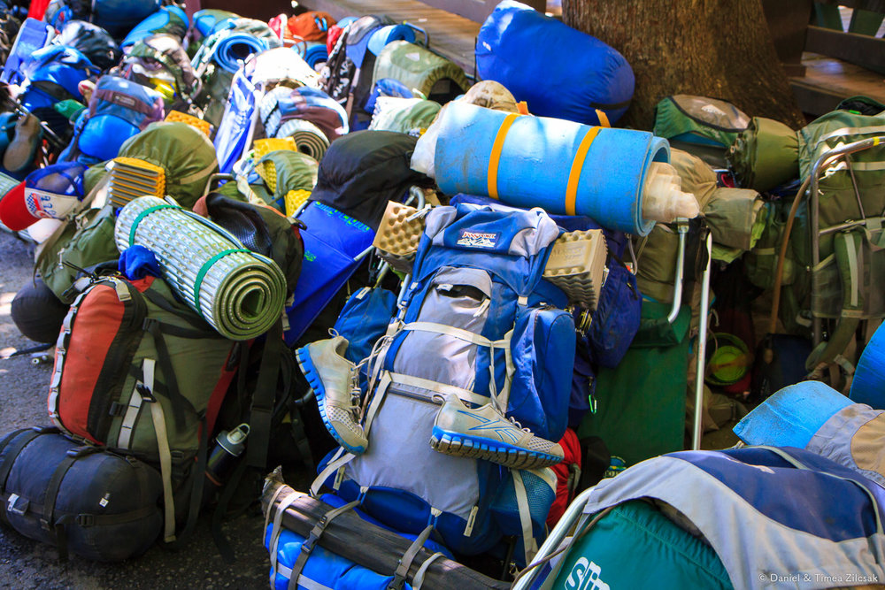 A group of teenagers' backpacks before their hike, Yosemite National Park