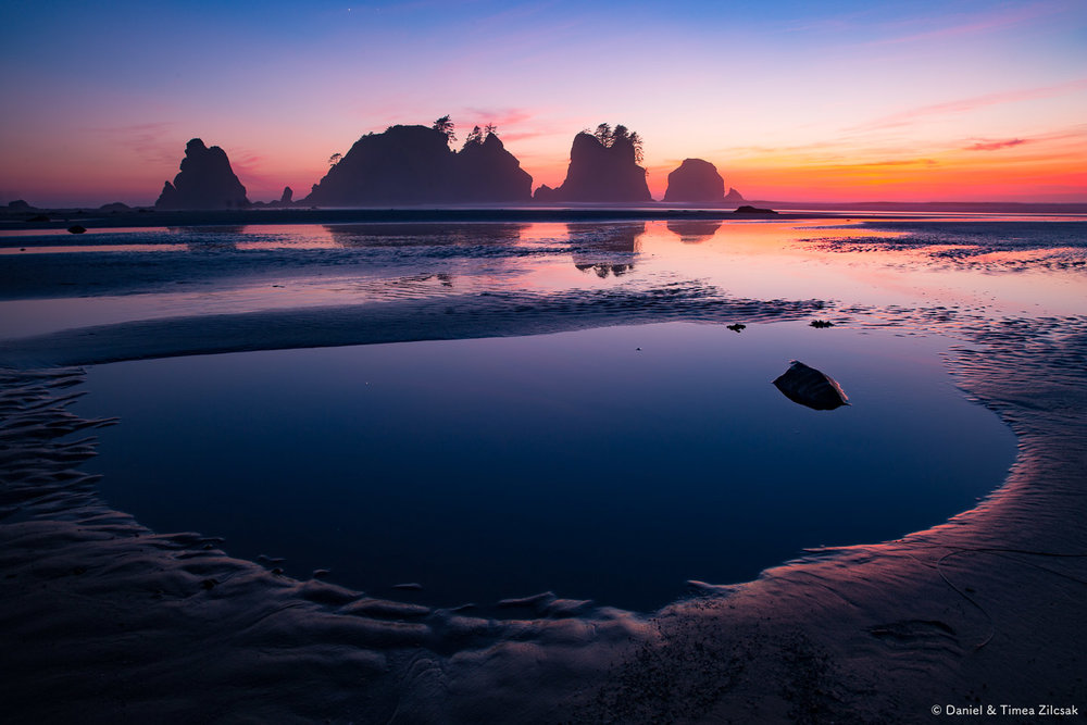A surreal sunset at Shi Shi Beach and Point of the Arches