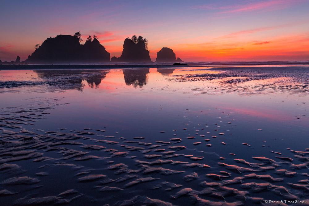 A surreal sunset reflection at Shi Shi Beach