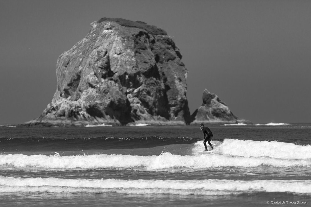 A lone surfer near Point of the Arches