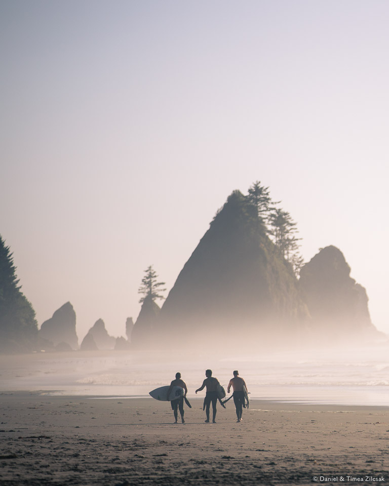 Surfers at sunset near Shi Shi Beach