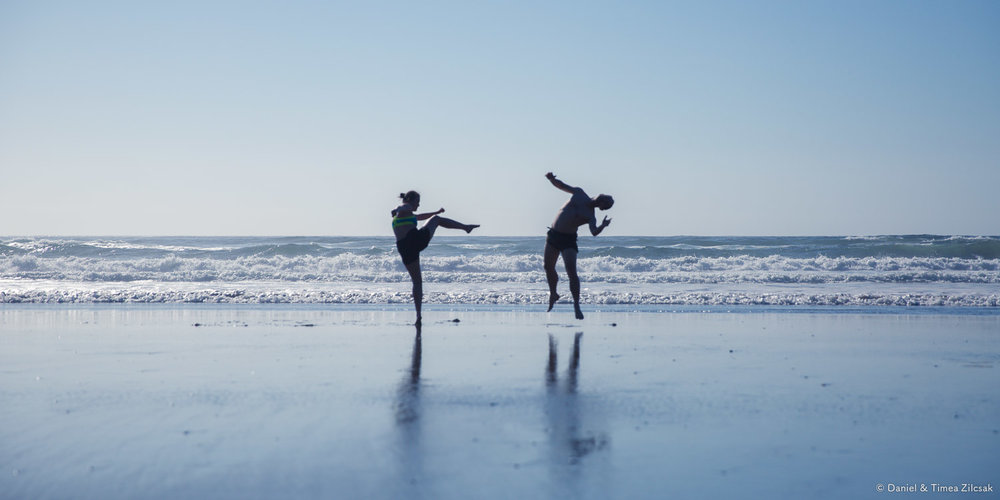 Karate moves on Shi Shi Beach
