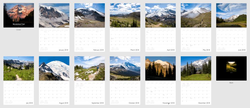 Wonderland Trail Mount Rainier National Park Calendar 12 Months.png