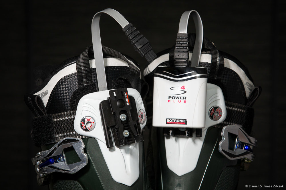 Attaching the Hotronic heaters to ski boots using drilled in screws and the Hotronic brackets
