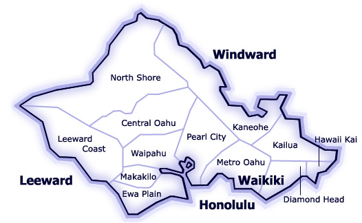 HICENTRAL MLS MAP OF OAHU MLS REGIONS