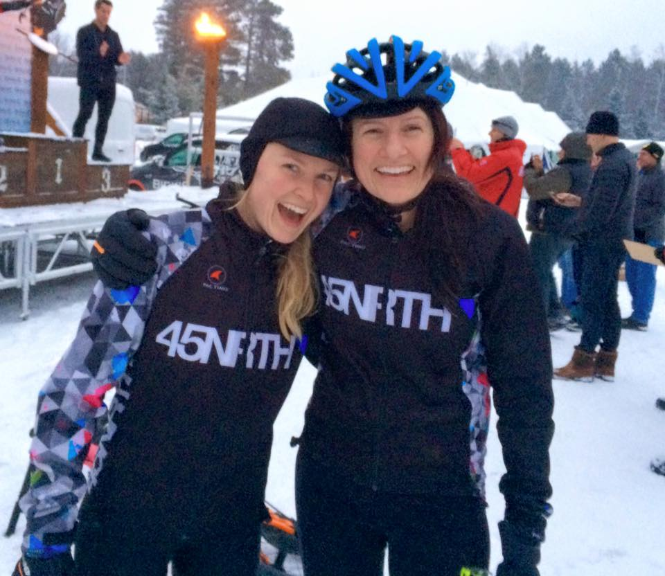 45NRTH riders Chelsea Strate and Danielle Musto celebrate the series finale.  photo by Scott Chambers