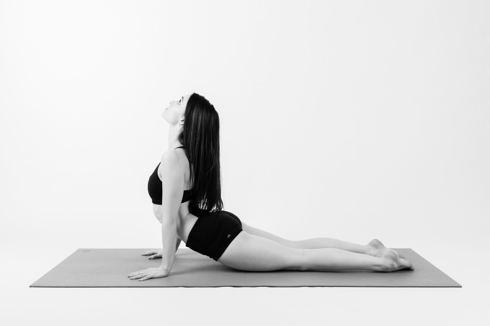 COBRA    As you inhale, begin to press your arms towards straight and look up. Pay attention to how this pose feels, particularly on your back, neck, and shoulders. Depending on what your body is telling you, you may decide to place your elbows and forearms down or keep your arms deeply bent.