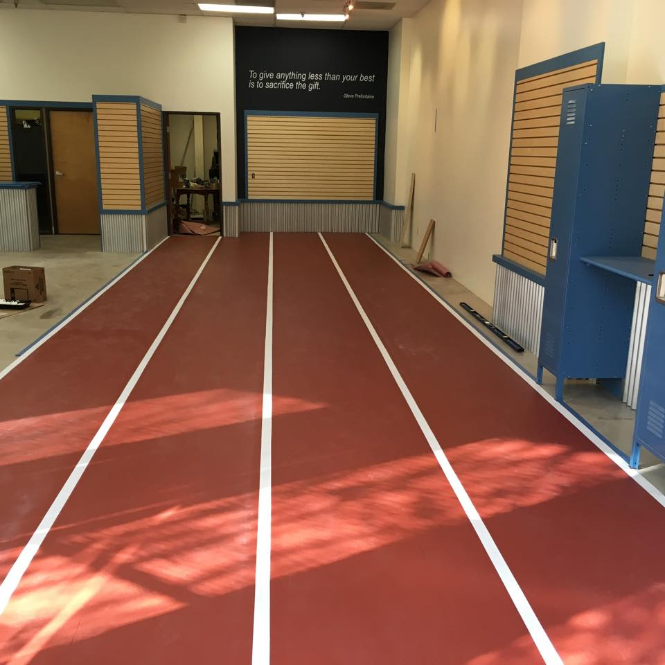 Our original location will now feature a 4-lane segment of track, perfect for testing out your new track spikes and trainers. On the wall at the end of the track, you'll find the inspiring words of Steve Prefontaine.