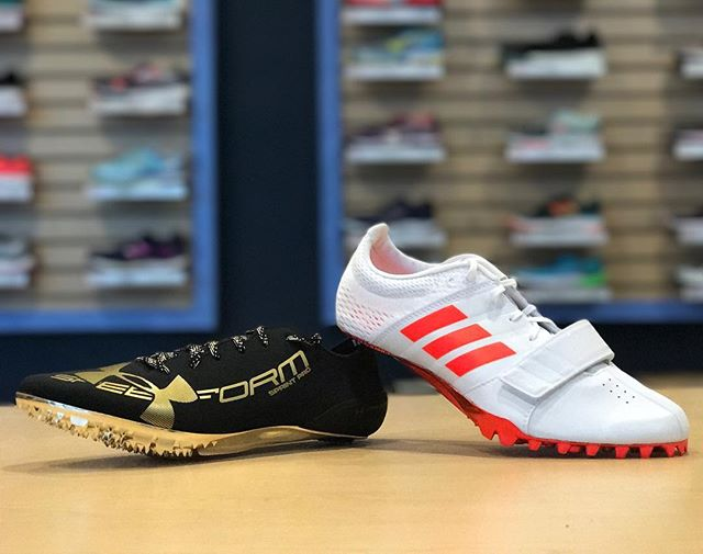 Which sprint spike is faster: the @underarmour SpeedForm Sprint Pro or the @adidas adiZero Prime Accelerator? You tell us. Try them both on at Future Track today!  #futuretrack #underarmour #adidas #speedformsprintpro #primeaccelerator #trackspikes #sprintspikes