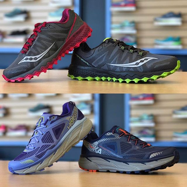 Spring is the BEST time to hit our local trails for a run. Get a closer look at those green hills with the new @saucony Peregrine 7,  @hokaoneone Challenger ATR 3, and the rest of our extensive trail lineup available at Future Track today!  #futuretrack #trailrunning #trailshoes #saucony #findyourstrong #hokaoneone #challengeratr3 #peregrine7