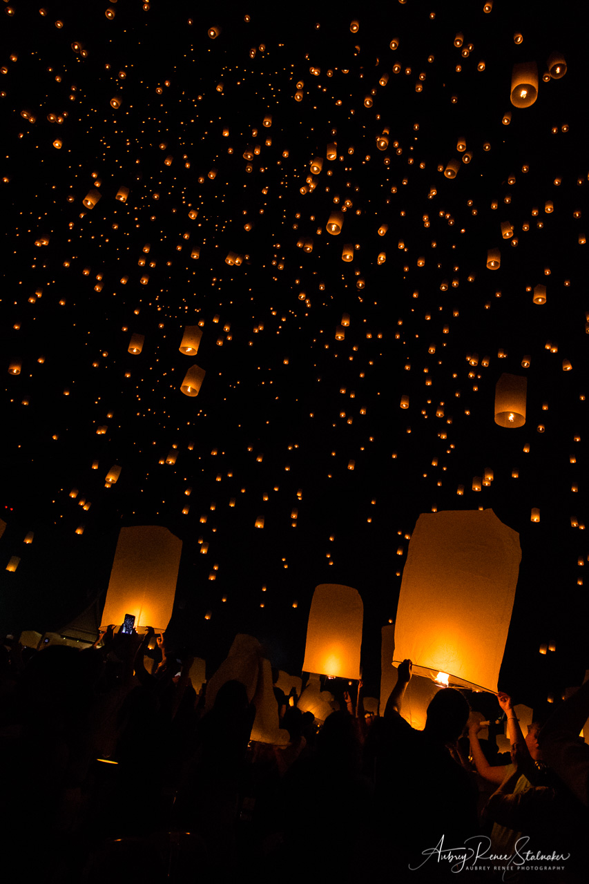 Lanterns in the Sky at the Yi Peng Lantern Festival in Chiang Mai, Thailand
