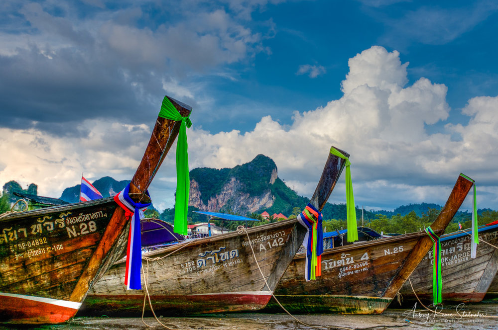 Longtail Boats at Low Tide in Krabi, Thailand