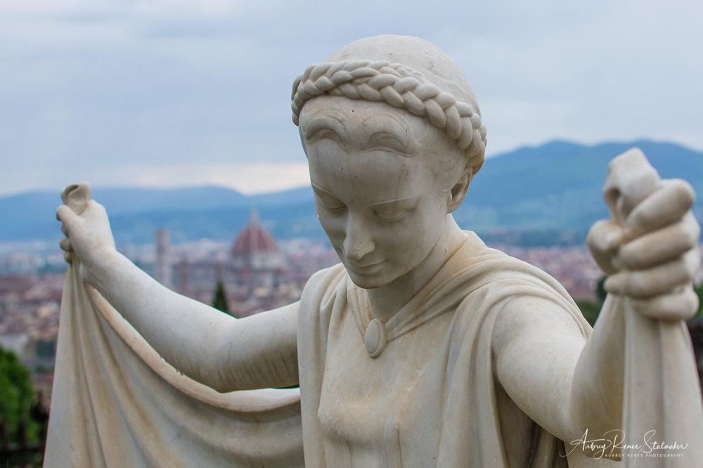 Weeping Statue at Abbazia di San Miniato al Monte in Florence, Italy