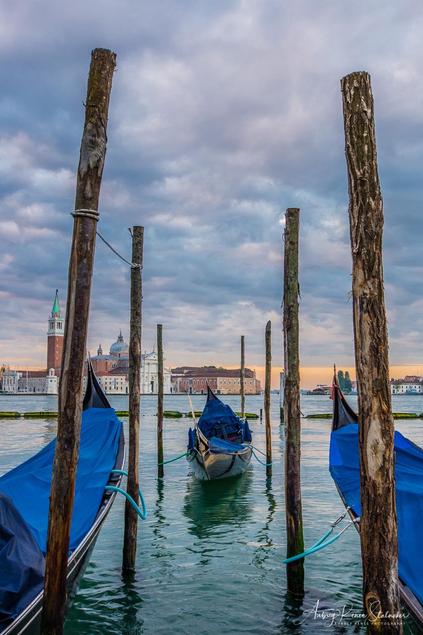 Gondola at Sunrise near Piazza San Marco in Venice, Italy