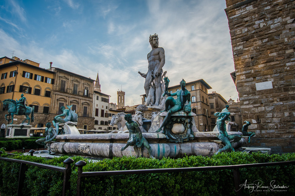 Fountain of Neptune in the Piazza della Signoria of Florence, Italy