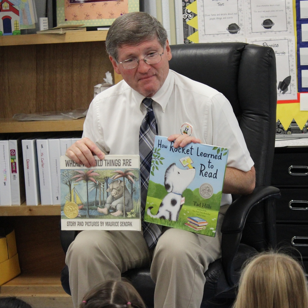 Bill Schacklett participates in Reading In The Schools Day.