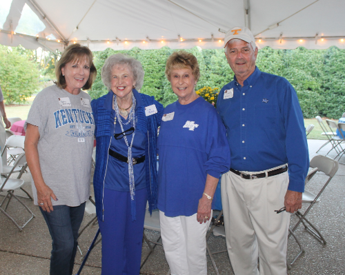 Murfreesboro showed it's true colors at the tailgate party last year, held at the home of Eleanor and Charlie Teasley (right). The Teasleys are pictured here celebrating with Sydney Boerner and Dr. Liz Rhea.