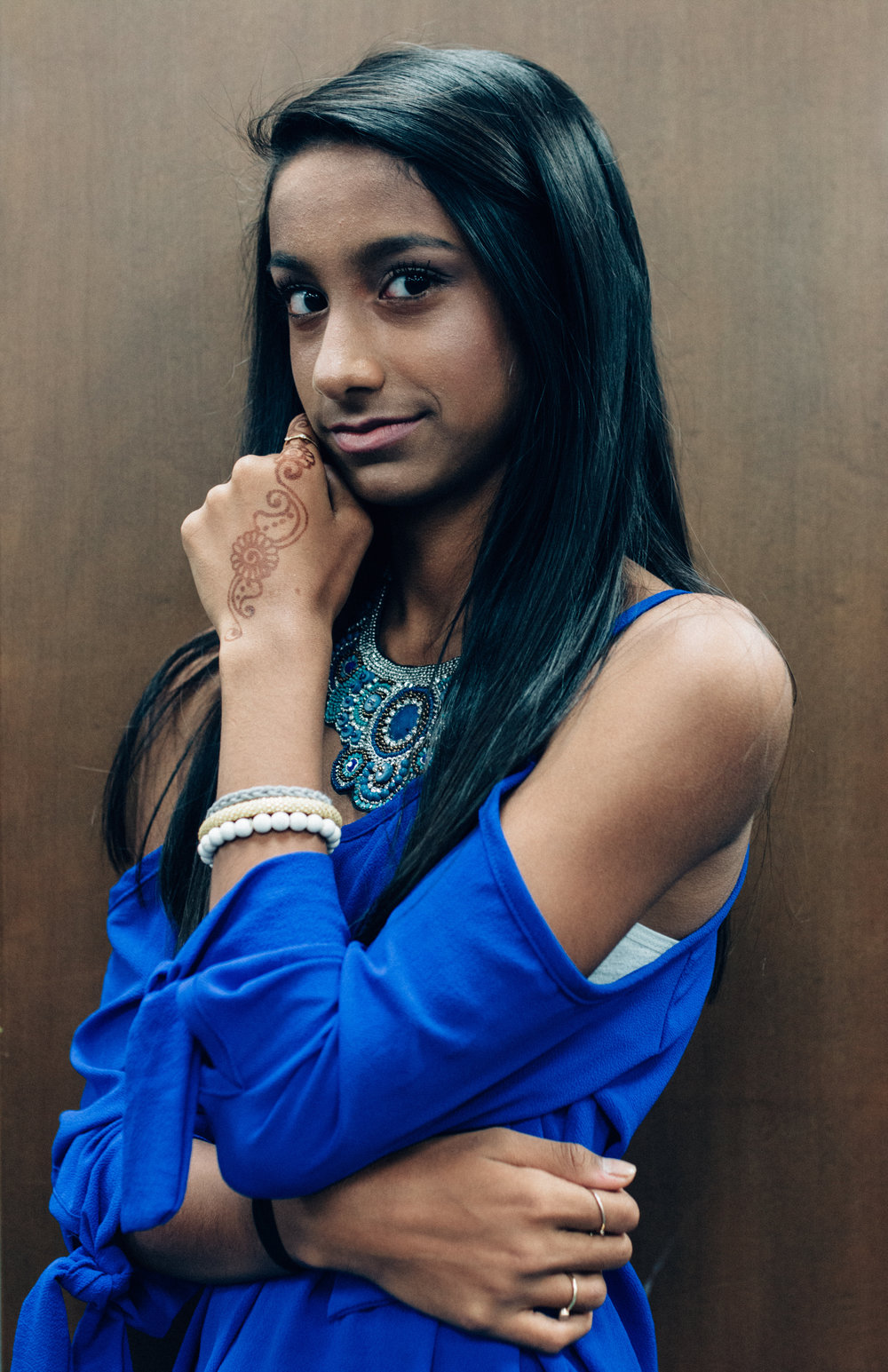 Mira Patel (A'gaci at Stones River Mall): A'gaci top, shorts, and necklace