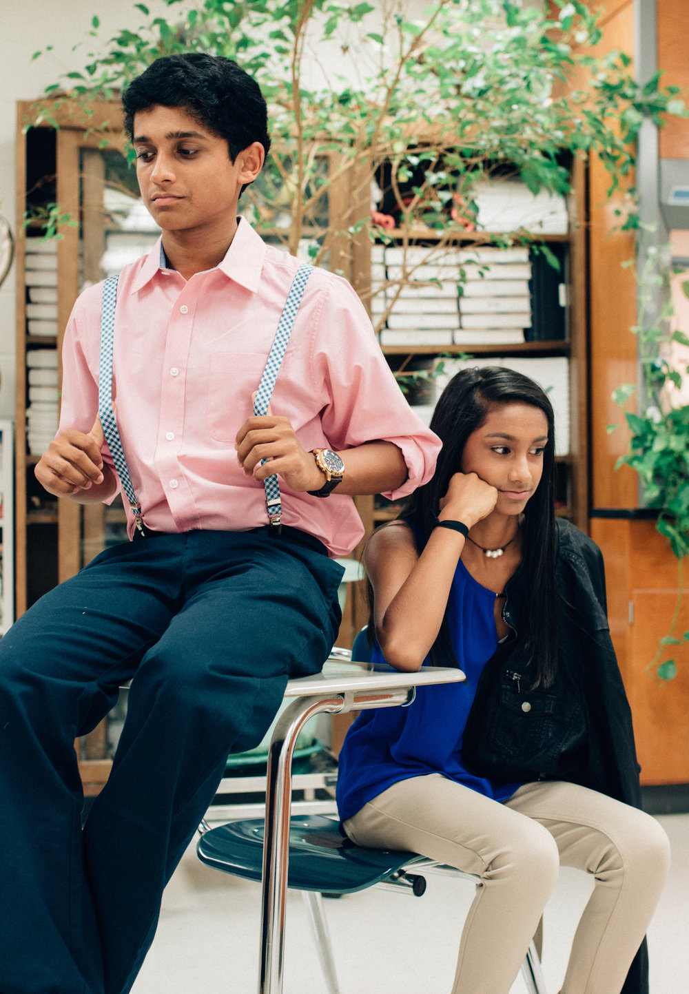 Eshan Patel (Dillard's): Class Club shirt, Class Club suspenders, and Polo chino slacks  Mira Patel (A'gaci at Stones River Mall): Ci Sona faux leather jacket, A'gaci short sleeved top, and Lanjou skinny jean