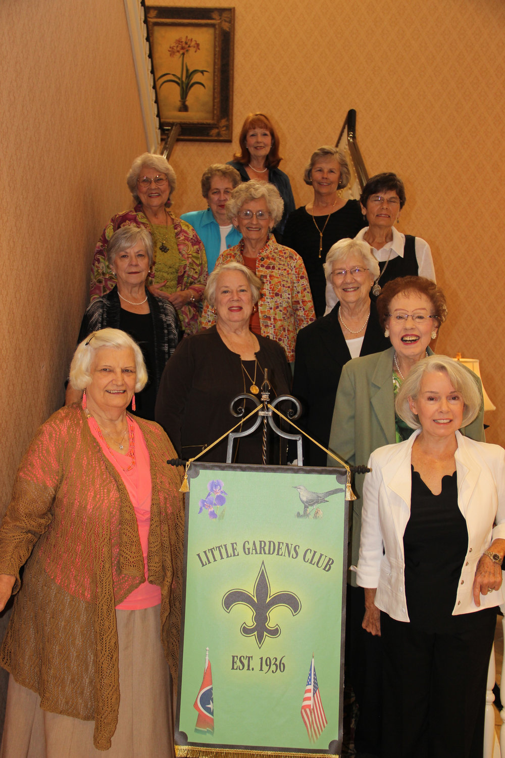The members of the Little Gardens Club include Nancy Adkins, Alicia Austin, Kitty Bush, Ann Coleman, Maxine Henderson, Terri Kelly, Anne Love, Helen Luster, Joyce Moorehead, Joan Rose, Susie Tallent, Anita Tucker and Carolyn Wilson. Members not present were Joan Christian, Claudia Durham, Caroline Scarlett and Jessie Smith.